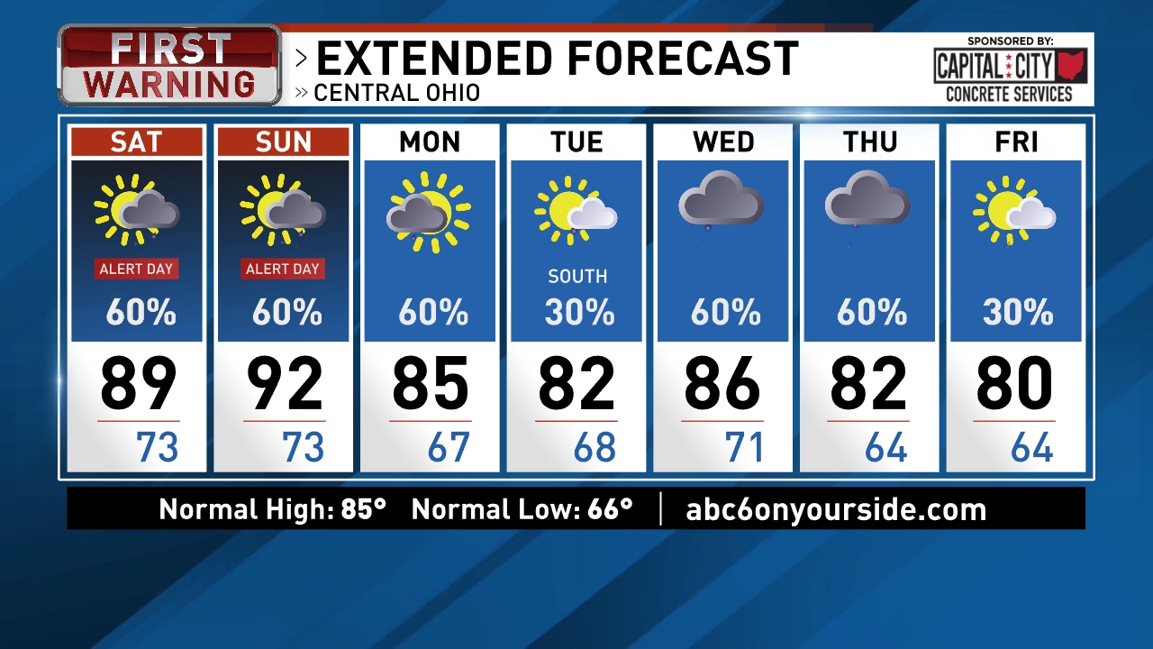 Columbus Weather News Weather Sports Breaking News WSYX - Us weather map 30 day