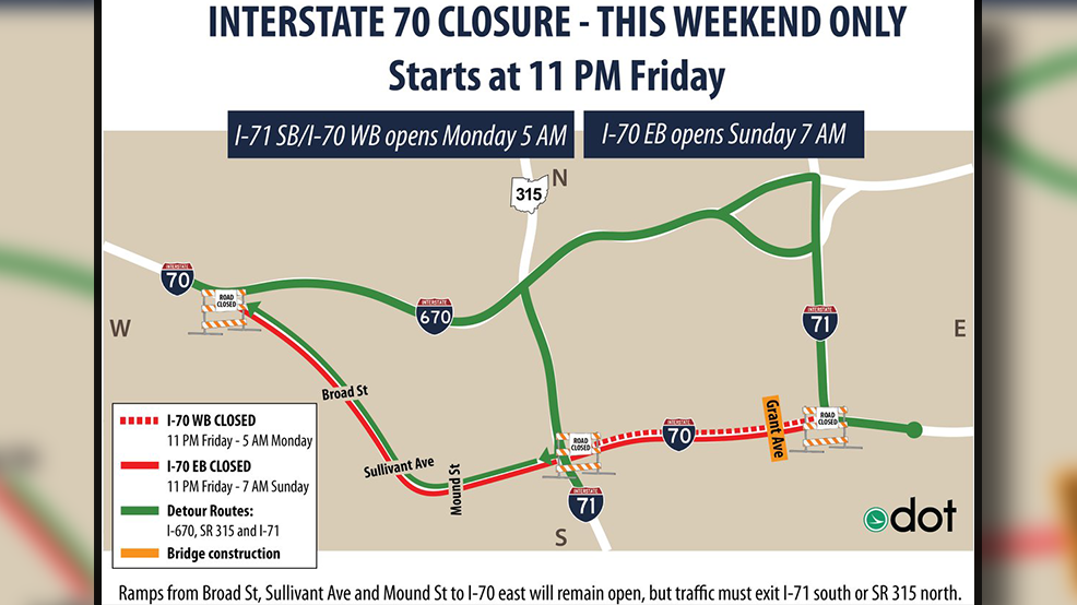 ODOT: I-70 closed downtown this weekend, will reopen on