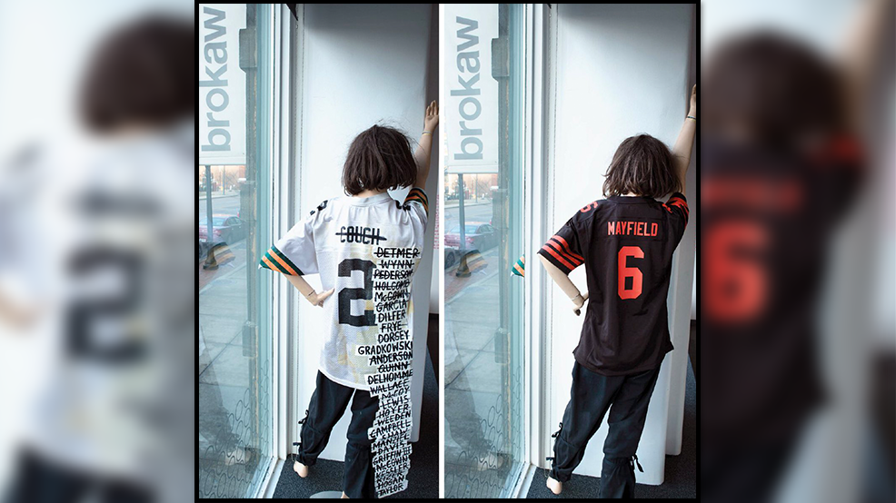 premium selection b5428 1bf65 Ad agency replaces Browns quarterback jersey with Baker ...