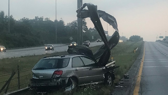 Driver hospitalized after high-speed crash on I-270 in