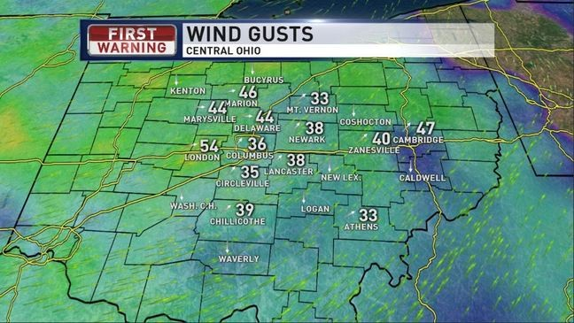 High Wind Warning in effect for much of Central Ohio, many power